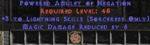 Sorceress Amulet - 3 Lightning Spells & 6 MDR