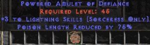 Sorceress Amulet - 3 Lightning Spells & 75% PLR
