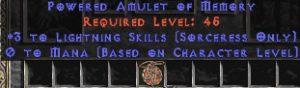 Sorceress Amulet - 3 Lightning Spells & 0.75 MPL