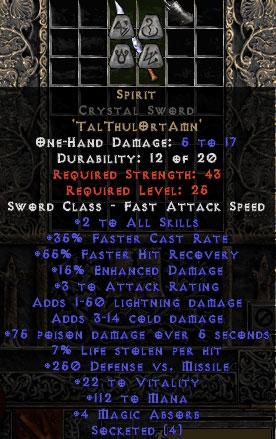 Spirit Crystal Sword - 35% FCR/89-111 Mana/3-8 MA