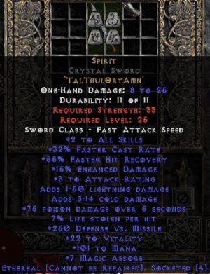 Spirit Crystal Sword - Ethereal - 30-34% FCR