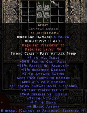 Spirit Crystal Sword - Ethereal - 35% FCR/112 Mana/3-7 MA
