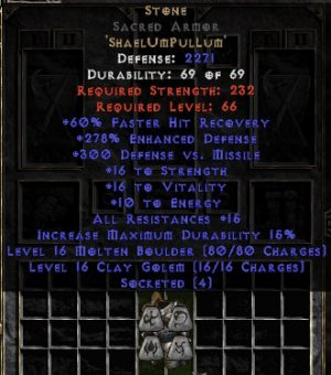 Stone Sacred Armor - 250-269% ED