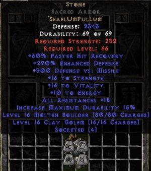 Stone Sacred Armor - 290% ED - Perfect