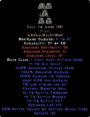 Call to Arms Flail - +6 BO & + 6 BC