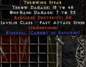 10x Unid Rare Throwing Spear Ethereal