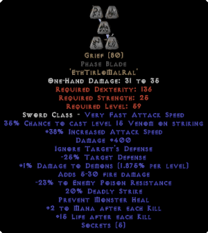 Grief Phase Blade - 35-39% IAS & 400 Damage
