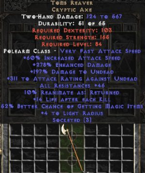 Tomb Reaver - Ethereal - 3 Sockets