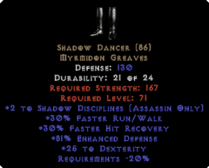 Shadow Dancer - 2 SD & 25 Dex