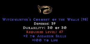 -+2 Assassin Skills/100 Life Diadem/Tiara/Circlet - 2 Socket