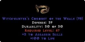 -+2 Assassin Skills/100 Life Diadem/Tiara/Circlet - 0 Socket