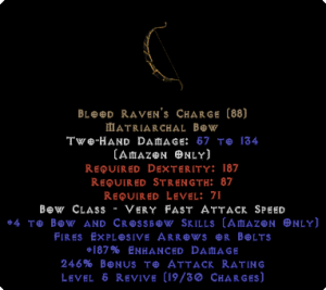 Blood Raven's Charge +4 skills & 205+ ed