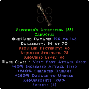 Griswold's Redemption - 4 Sockets & 240% ED - Perfect