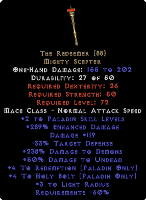 The Redeemer +4Red/+4HB/275+ ED