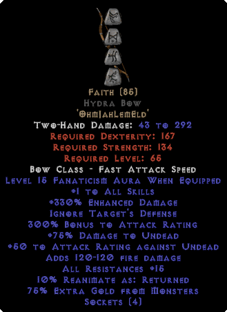 Faith Hydra Bow - 1 Skills & 12-14 Fanat