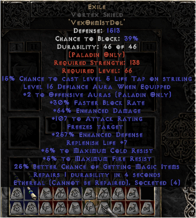 Exile Vortex Shield - Eth Bugged - 45 Res - 260% ED & Level 13-15 Defiance