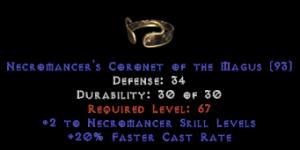 -+2 Necromancer Skills/20% FCR Diadem/Tiara/Circlet - 0 Socket