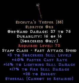 Eschuta's Temper - Ethereal - +3 Skills
