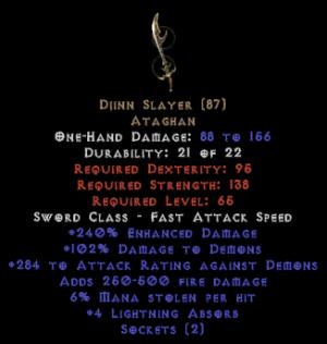 Djinn Slayer - 2 Sockets & 240% ED
