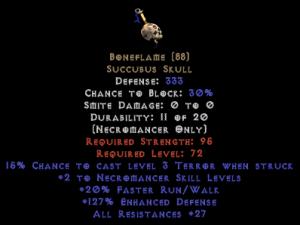 Boneflame +2 skill & 30 res