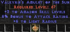Amazon Amulet - 2 All Zon Skills & 5% AR
