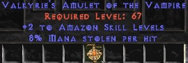 Amazon Amulet - 2 All Zon Skills & 8% ML