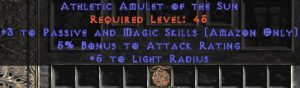 Amazon Amulet - 3 Passive/Magic Skills & 5% AR