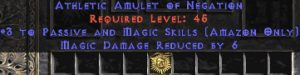 Amazon Amulet - 3 Passive/Magic Skills & 6 MDR
