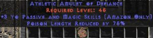 Amazon Amulet - 3 Passive/Magic Skills & 75% PLR