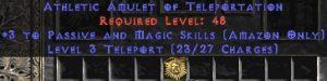 Amazon Amulet - 3 Passive/Magic Skills & Teleport