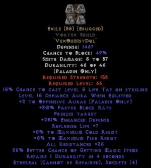 Exile Vortex Shield - Eth Bugged - 35-44 Res - 220-239% ED