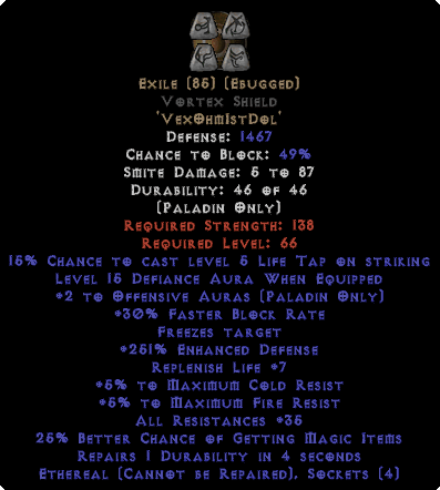Exile Vortex Shield - Eth Bugged - 35-44 Res - 220-239% ED