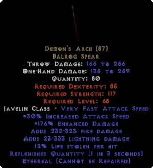 Demon's Arch - Ethereal - 12% LL, 160-209% ED