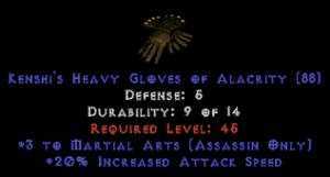 Assassin Gloves – 3 Martial Arts & 20% ias