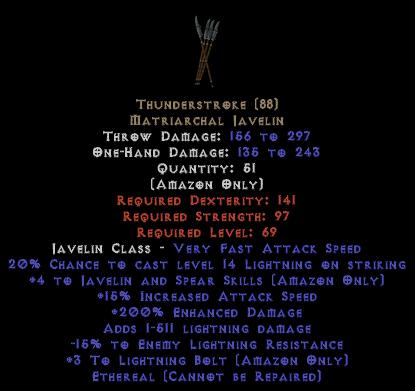 Thunderstroke - Ethereal - +4 Skills & 200% ED - Perfect