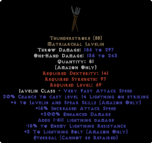 Thunderstroke - Ethereal - +4 Skills & 200% ED - Perfect