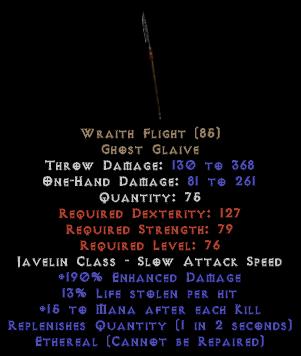 Wraith Flight - Ethereal - 13% LL, 190% ED - Perfect