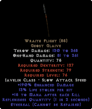 Wraith Flight - Ethereal - 13% LL, 190% ED - Perfect