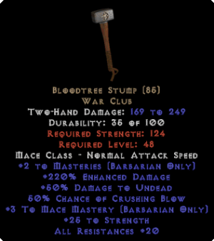 Bloodtree Stump - 220% ED - Perfect