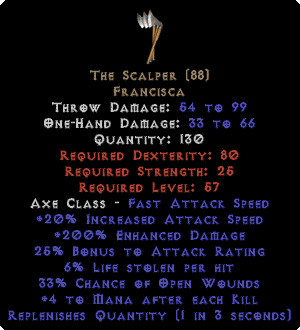 The Scalper - 6% LL & 200% ED - Perfect