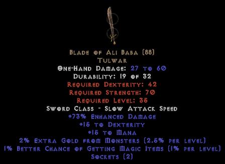 Blade Of Ali Baba - 15 Dex